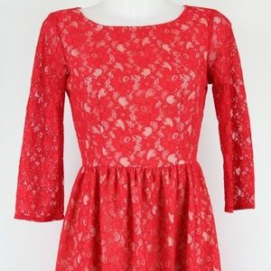 French Connection Red Lace Dress Size 4